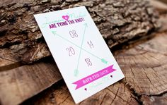 Save the Date Modern Whimsical // Pink Purple // Arrows // Banner Green And Purple, Pink Purple, Affordable Wedding Invitations, Heart With Arrow, Color Themes, Table Centerpieces, Arrows, Paper Goods, Save The Date