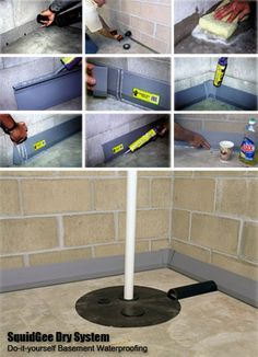 DIY Basement Waterproofing Kit - Dry up your wet basement like a PRO! It's Easy! I wonder if this works. Basement Systems, Dry Basement, Basement Makeover, Basement Storage, Basement Flooring, Basement Renovations, Home Remodeling, Basement Waterproofing, Basement Ideas