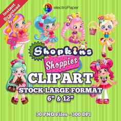 SHOPKINS SHOPPIES CLIPART Stock Large Format 6inch and 12inch 30 png files 300 dpi for Cardmaking, Scrapbooking, Party Decorations and More by ElectroPaper on Etsy
