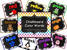 ~FREE!~ Chalkboard Color Word Posters