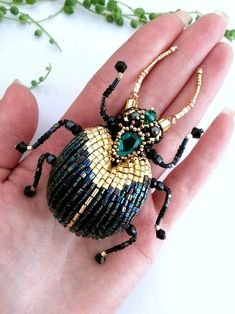 Your place to buy and sell all things handmade - Insect Pin Insect Brooch Scarab Brooch Dung Beetle Brooch Bug Pin Bug Jewelry Embroidered Ins - bisuteria Bead Embroidery Jewelry, Beaded Embroidery, Beaded Jewelry, Beaded Bracelets, Brooches Handmade, Handmade Jewelry, Beaded Spiders, Insect Jewelry, Gold Work