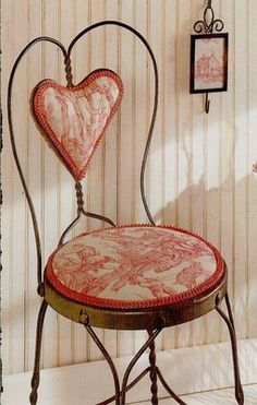 """The same chairs I have... Antique """"ice cream parlor chairs"""" from 1940's.  Changed out fabric to coordinate with bedding..."""