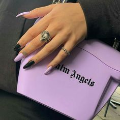 In seek out some nail designs and ideas for your nails? Here's our list of must-try coffin acrylic nails for fashionable women. Black And Purple Nails, Purple Acrylic Nails, Summer Acrylic Nails, Best Acrylic Nails, Acrylic Nail Designs, Spring Nails, Black Nails, Winter Nails, Matte Black