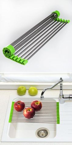 This innovative Over-the-Sink Roll Up Drying Rack is so convenient, and it saves space, too. Simply roll it out, and place the rack over your standard size sink. It's perfect for rinsing and drying fresh fruit and vegetables or as a draining rack for dishes. Roll it up and store it away when when you're not using it. #tinyhouse #ideas