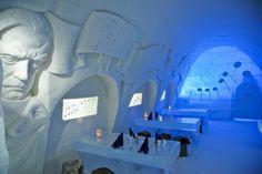Snow Restaurant with Sibelius motif, LumiLinna in Kemi.
