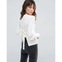 ASOS Jumper With Frill Sleeve And Open Back (745 MXN) ❤ liked on Polyvore featuring tops, sweaters, white, white ruffle top, white wrap sweater, white sweaters, flounce tops and flutter-sleeve top