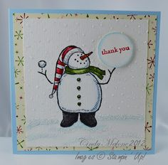 A Snowball Thank You Card #stampinup #snowman #thankyou