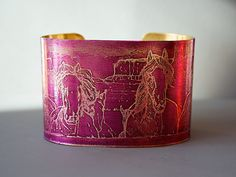 """I donate 20% of any item purchased in my store to Rosemary Farm Horse Sanctuary - all year 'round!! Canyon Mustangs Horse Cuff Bracelet Etched Brass 1.5"""" wide burgundy purple. handmade by Joann Hayssen SRA - $35.00"""