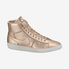 nike blazer mid leather gold high top trainers