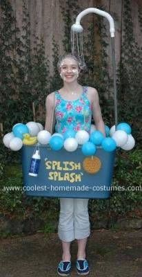 Homemade Bathtub Halloween Costume  sc 1 st  Pinterest & Cool DIY Costume Idea: Shower Curtain Costume | Pinterest | Diy ...