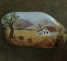 Painted Rocks scenes | Painted Rock with Country Scene by JosLagniappe on Etsy