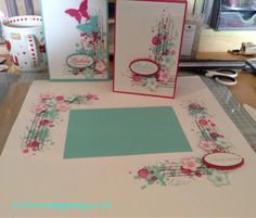 I used Gorgeous grunge and perfect petals stamp set. Scrapbook page and coordinating cards set