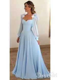 834d8638c509 Sky Blue Long Chiffon Prom Dresses with Sleeves Modest Formal Dress AR –  SheerGirl Abiti Da