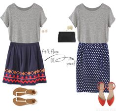 Stitch Fix: Boyfriend tee paired with a Skirt for a casual lunch!
