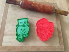 Vintage Hallmark Plastic Santa And Snowman Christmas Cookie Cutters