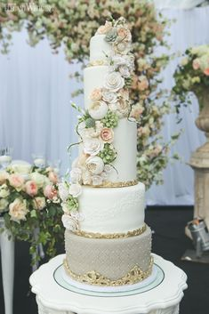 Garden Wedding Cake With Sugar Flowers, Glamorous Wedding Cake, Cherry Blossom Wedding Cake www.elegantwedding.ca