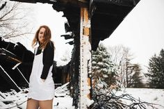 winter fashion & snow & overalls & fashion photography & overall dress & turtlenecks