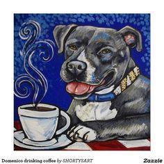 Domenico drinking coffee, love dog poster
