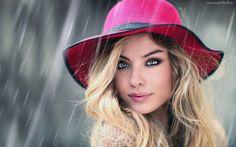 Kobieta, Blondynka, Różowy, Kapelusz, Deszcz, Makijaż