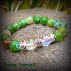 Green Faceted Fire Agate Gemstone Beaded by FeelingCharmed on Etsy, $15.00