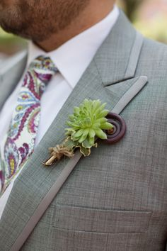 succulent and monkey tail... I love the tie with it.
