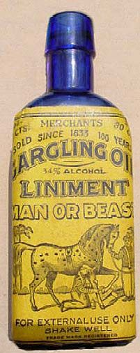 gargling oil liniment for man or beast