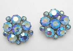 Weiss Blue Aurora Earrings - Garden Party Collection Vintage Jewelry