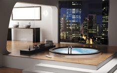 Salle de bain luxe avec vue