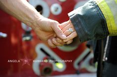 LOVE this picture! Perfect for showing the ring and the firefighter theme :) Firefighter Engagement Pictures, Engagement Photo Poses, Engagement Photo Inspiration, Engagement Couple, Engagement Photography, Country Engagement, Engagement Shoots, Wedding Engagement, Fireman Wedding