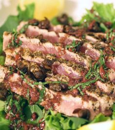 Grilled Rare Tuna Salad with Basil-Tapenade Vinaigrette