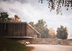 Strom #Architects designs a countryside house protruding over a wall