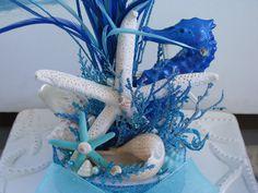 Beach Wedding Centerpiece~Seashell ~Starfish~Seahorse Wedding Centerpiece-Lights Up-Coral Reef Centerpiece