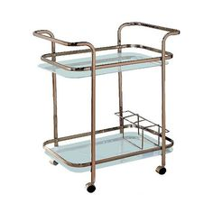 Elleria Rectangular Metal Serving Cart Metal/Champagne (425 SAR) ❤ liked on Polyvore featuring home, kitchen & dining, bar tools, bronzed yellow, metal bakers rack, metal serving cart, metal tea cart, mobile cart and metal cart