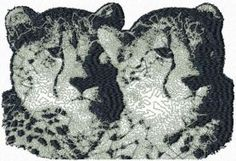 Two leopards free machine embroidery design. Machine embroidery design. www.embroideres.com