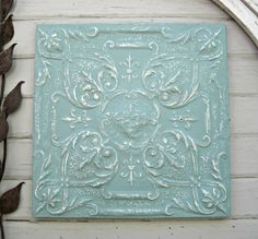 Antique Ceiling Tin Tile FRAMED Large turquoise by DriveInService