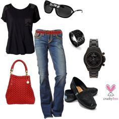 """""""Black with Red"""" by pbmhuck on Polyvore"""