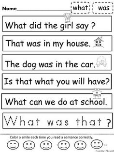 Sight Word Kindergarten ~Have your students practice reading sight words in sentences. They can practice tracing sight words on the last sentence they read. Students can color a smile each time they read a sentence correctly. You may choose to do these in order. The sentences review words introduced as you move along. Some picture icons are removed as students begin to recognize more words. Each page focuses on two new sight words. It starts out very simple and Kindergarten Art Activities, Educational Activities For Kids, Sight Word Activities, Teaching Kindergarten, Teaching Resources, Teaching Ideas, Sight Word Sentences, Sight Words, Phonological Awareness