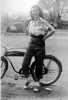 saddle shoes #vintage #1940s #1950s pants jeans teen plaid shirt  bike found photo street girl fashion style