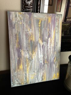 "Modern abstract decorative painting with purple silver and gold 9"" by 12"". $35.00, via Etsy."