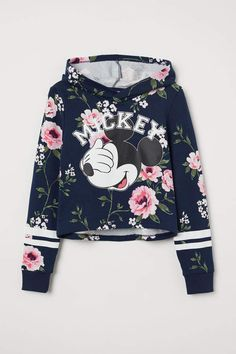 H&M Short Hooded Sweatshirt - Blue Cute Disney Outfits, Crop Top Outfits, Kids Outfits Girls, Cute Outfits For Kids, Teen Fashion Outfits, Teenager Outfits, Swag Outfits, Cute Casual Outfits, Disney Clothes