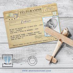 Faire part naissance sous forme de télégramme pour annoncer l'arrivée de votre nouveau né, ref N11015 (modèle fille N11016)