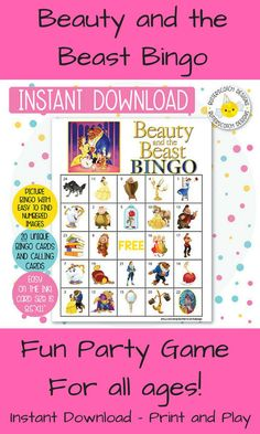 Beauty and the Beast Bingo is a fun game for boys and girls to play. The images are numbered so they are easy to find and call. All you have to do is print and play! #bingo #beautyandthebeast #ad ##instantdownload #disney