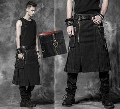Jupe Homme Gothique Punk Métal Denim Plissée Kilt Grandes Poches Punkrave Noir | eBay
