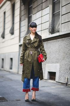 70+ Photos Of Milan's Most Over-The-Top Street Style #refinery29  http://www.refinery29.com/2016/03/104781/milan-fashion-week-fall-winter-2016-street-style-pictures#slide-28  If your plain old denim isn't cutting it, a pair with pom-poms on the hem might do just the trick....