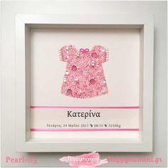 Χειροποίητο κάδρο με φορεματάκια για κορίτσια! Δες όλα κάδρα με τα στρασάκια στην ιστοσελίδα μου! Happy Room, Pearls, Frame, Baby, Photography, Home Decor, Picture Frame, Photograph, Decoration Home
