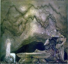 The Boy and The Trolls or The Adventure in Anthology Among Pixies and Trolls, a collection of children's stories, 1915. Illustration by John Bauer.