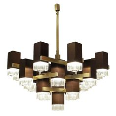 Huge Cubic Chandelier in Bronze by Gaetano Sciolari | From a unique collection of antique and modern chandeliers and pendants  at https://www.1stdibs.com/furniture/lighting/chandeliers-pendant-lights/