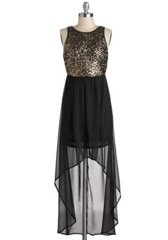 Ever Soho Stylish Dress - Mid-length, Black, Gold, Sequins, Party, Holiday Party, Twofer, High-Low Hem, Sleeveless, Vintage Inspired, Statement