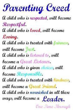Parenting creed #parentingtoddlerssimple