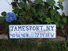 Jamesport, NY. Town pride hand lettered driftwood sign. Whitewash w/ grey border/ navy lettering. Have a look at my website and place your order www.TotallyADrift.com